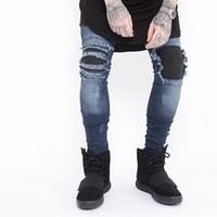 jeans vintage lavados azules para hombres al por mayor-2017 Blue Wash The New Crime The Elastic Stretching Biker Jeans Vintage Jogger Hip hop Hombre Ripped Skinny Jeans negros Pantalones