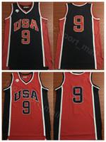 ingrosso colore rosso uniforme-Maglie di pallacanestro degli Stati Uniti del 1984 9 Uniforme uniforme di Michael Blue Navy MJ Jersey degli uomini blu traspirante per gli appassionati di sport di alta qualità sulla vendita