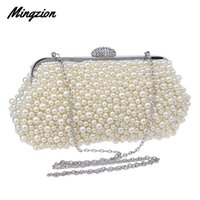 Wholesale hard shell clutch resale online - Women messenger beaded women vintage evening bags imitation pearl shell bag shoulder bags diamonds clutch bag for wedding
