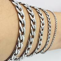 ingrosso bracciali femminili incatenati-Bracciale uomo cubo con catena a maglie cubane Bracciali da donna in acciaio inossidabile Gioielli AMYA per uomo Donna