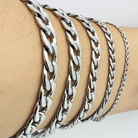 verkettete damen armbänder groihandel-Man Curb kubanischen Gliederkette Armband Edelstahl Mens Womens Armbänder AMYA Schmuck für Männer Frauen