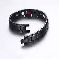 Wholesale chains germanium resale online - Vinterly Wrist Band Magnetic Bracelet Men Stainless Steel Germanium Energy Bracelet Male Black Magnetic Bracelet for Men