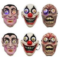 maskerade-make-up großhandel-Led Licht Halloween Horror Maske für Clown Vampir-Augen-Schablonen Cosplay Thema Make-up Leistung Masquerade Full Face Mask Partei ZZA1144-