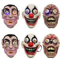 maskeli makyaj toptan satış-Palyaço Vampir Göz Maskesi Cosplay Kostüm Tema Makyaj Performansı Masquerade Tam Yüz Parti Maske için Led Işık Cadılar Bayramı Korku Maskesi ZZA1144-