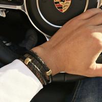 ingrosso braccialetto magnetico nero-Pelle McIlroy Mens Bracciali in acciaio inossidabile nero polsino del braccialetto del braccialetto di stile punk di Jewlery di modo catenaccio magnetico 2018 V191212