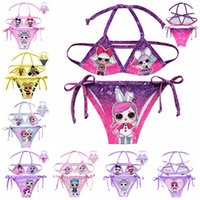 çocuk mayo toptan satış-Bebek Kızlar Sürpriz Mayo Üst + Külot Çocuklar Yaz Karikatür Bikini 2 adet Set Bebek Plaj Giyim Mayo Suits 5 setleri LJJA2279
