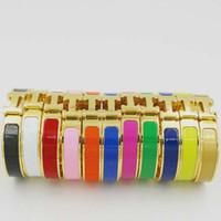 Wholesale green crystal bangles for sale - Group buy Luxury Designer Jewelry Women Bracelets Stainless Steel Bangles Enamel Charm Bracelets Bangle H Letter Buckle Bracelets For Women