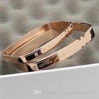 pulsera de letras cuadradas al por mayor-Pulsera de titanio, acero, oro rosa, brazalete cuadrado Alain Mikili Amante de las letras de plata con diamante para mujer y hombre, marca de moda llamada pulsera