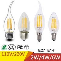 e14 vela lâmpada 9w venda por atacado-Lâmpadas Led E27 E14 2 W 4 W 6 W LED Filamento Vela Lâmpada AC110V 220 V C35 C35 T Branco / Branco Quente
