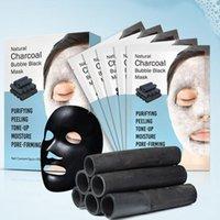 ingrosso maschera nera maschera nera-DHL 48boxs Detox naturale Ossigeno del carbone di legna Bubble Black Sheet Mask Controllo dell'olio Maschera viso Rimozione di comedone Maschera facciale Coreano Cura della pelle