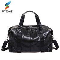 Wholesale leather sport handbags for man for sale - Group buy Hot Men Outdoor Sports Gym bags Travel Handbag For Men Solid PU Leather Shoulder Men s luggag Tote Gym Bags Fitness handbag