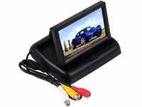Wholesale monitor roof car screen resale online - 4 inch Car Rear View Monitor with Reserving Digital LCD TFT Display Screen Foldable Vehicle Rearview Monitors High Definition