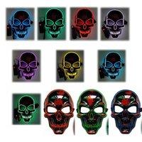 cadılar bayramı rave partisi toptan satış-10styles kafatası Cadılar Bayramı Maskesi Temizle Yetişkin Çocuk Cadılar Bayramı Rave Parti Maskeler hediye dans sahne Light Up Korkunç Glow korku Maskeler Maske LED FFA3018