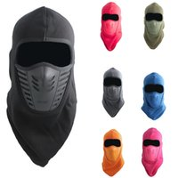 Wholesale motorcycle winter face mask resale online - Motorcycle Bicycle Face Mask Beanies Hat Head Ears Mouth Thermal Winter Helmet Warm Black Velvet Skiing Wind Balaclava Face Mask