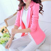 костюм блейзер мод женщины оптовых-Конфеты цвет мода элегантный розовый блейзер Женщин Осень свободного покроя простой сплошной бизнес работа blazzer 2019 мода женщин костюмы Blaser одной