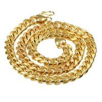 ingrosso catene in oro giallo-pesante pesante! 120g 18ct vero oro giallo solido riempito collana uomini catena di collegamento 10mm gioielli
