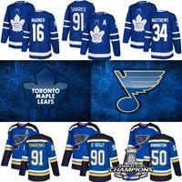 hockey jerseys großhandel-St. Louis Blues Jersey Stanley Cup-Meister 2019 Toronto Maple Leafs William Nylander Hockey-Trikots 91 Tarasenko 90 O'Reilly 17 Schwartz
