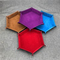 Wholesale dice storage resale online - Hexagonal Desktop Storage Box PU Leather Foldable Storage Box Dice Collapsible Rolling Tray For Table Games