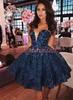 robe de soirée bleu marine junior achat en gros de-Moderne bleu marine chérie Robes Perles Dentelle Plus Size Prom Juniors balle Robes Club Wear Parti arabe Longueur genou Graduation