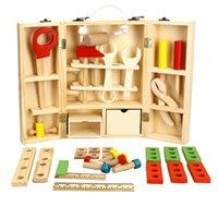 ingrosso giocattoli del ragazzo strumento-scatola degli attrezzi giocattoli BOHS Legno bambino Carpenter Construction Tool Box Boy Pretend Gioca Model Building Kit Toy, 30 * 20 * 8 cm