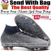 calcetines de fútbol negro naranja al por mayor-Nuevos botines de fútbol Tops altas Mercurial Superfly VI FG ACC Zapatillas de fútbol Para hombre Calcetines de exterior originales Botas de fútbol Gris Naranja Negro 39-46