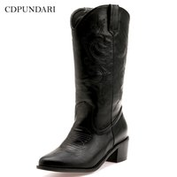 Wholesale wide western boots for sale - Group buy 2020 black Western Cowboy for women High heels Ladies spring Autumn shoes woman wide calf boots super size Y200723