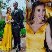gelb prom kleider zum verkauf großhandel-2019 Sehvermögen Gelb V-Ausschnitt A-Linie Abendkleid Ärmellos Bodenlangen Maßgeschneiderte Heiße Verkäufe Prom Party Kleider