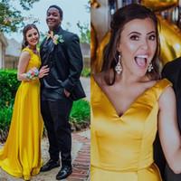vestidos de fiesta amarillo para la venta al por mayor-2019 Vista Amarillo V-cuello A-line Vestido de noche Sin mangas Longitud del piso Por encargo Ventas calientes Prom vestidos de fiesta