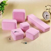 ingrosso scatole regalo dei monili di rosa del velluto-Di lusso rosa tessuto di velluto materiale gioielli regalo scatola di anelli collana bracciale braccialetti cavigliera orecchini