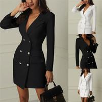elegante oberbekleidung großhandel-Frühling Herbst Anzug Blazer Frauen Casual Zweireiher Tasche Frauen Lange Jacken Elegante Lange Hülse Dünne Formale Oberbekleidung