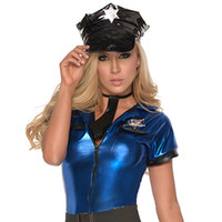 Wholesale sexy leather costume for halloween for sale - Group buy Women Costume Cap With Belt Ruched Policewomen Costume Topwear Leather Police women for Costume Play Sexy Coustum Party Cap Black Caps