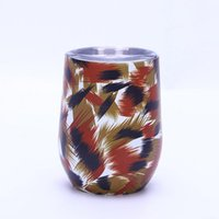 Wholesale stainless steel bearings resale online - 12oz Eggshell Cup colors starry sky galaxy Egg Shape Cups flower floral Stainless Steel Mug Bear Wine Cocktail Cup LJJA2711
