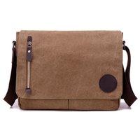 Wholesale satchel for laptop resale online - Canvas Casual Business Men s Messenger Bag CrossBody Shoulder Bags Zipper Flap Satchel A4 Flie Pack For Laptop Computer