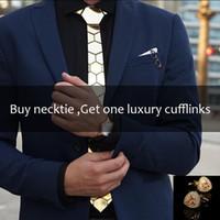 geometrische marken krawatten großhandel-Handgemachte geometrische Wabenform Gold Marke Krawatte glänzend Gold schlank sechseckige Mode Krawatte Manschettenknopf Set Luxus Gold Geschenk SH190727