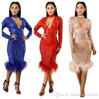 vestidos de noite bodycon venda por atacado-Mulheres Sexy Vestidos de Lantejoulas Outono Profundo Decote Em V Bodycon Club Vestido de Festa À Noite Vestido De Vestir