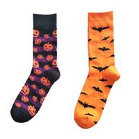 harajuku yüksek çoraplar toptan satış-Cadılar Bayramı çorap Yarasalar Kabak Desen Pamuk orta Çorap Harajuku Stil Moda Yüksek Kalite Parti Sevimli Nolvety Cosplay LJJA3271-3