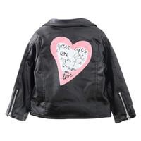jaquetas de couro para crianças venda por atacado-Primavera Outono Crianças Leather Jacket For Girls Moda PU Jacket Girls Girl bebê Casacos Casacos Casacos Roupa das Crianças