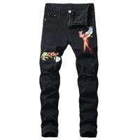 черные хлопковые штаны оптовых-New Jeans Men Skinny Ripped Black Denim Jeans Flower Embroidery Slim Fit Male Hole Cotton Pants Casual Trousers,S1899