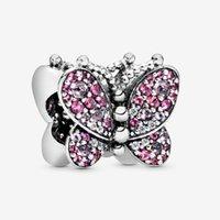 rosa rosa para pulseiras venda por atacado-Pavé rosa encantos da borboleta nova prata esterlina 925 contas sólidas rose fit para pandora original das mulheres pulseira charme jóias diy