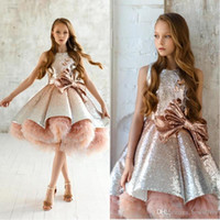 Wholesale blush prom dress beads resale online - 2020 New Princess Sequins Blush Pink Girls Pageant Gowns Tiered Ruffles Tulle Ruched Flower Girls Dresses Puffy Prom Dresses