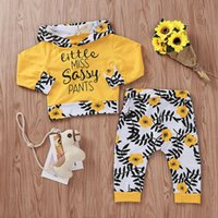 Wholesale yellow top kids clothing for sale - Group buy Baby Girl Clothing Set Letter Printed Hooded Tops Flower Pants Two Piece Set Kids Designer Clothes Girls Girl Designer Clothes T