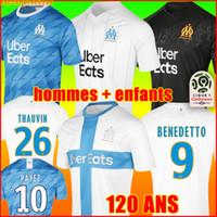 camisetas de fútbol de marsella al por mayor-19 20 Olympique De Marseille soccer jersey football shirt camiseta de fútbol OM camisetas 2019 2020 PAYET GUSTAVO THAUVIN uniformes de la chandal de fútbol hombres niños 120 años