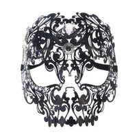 Wholesale metal skull mask masquerade for sale - Black Gold Silver Metal Laser Cut Full Skull Venetian Masquerade Mask Men Women Halloween Shows Ball Rhinestones Prom Party Mask
