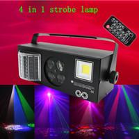 dmx strobe ışıkları toptan satış-Sahne Işıkları DJ LED Desen Strobe Işık 4 in 1 Karışık Efekt Ses Festivali Parti için Uzaktan ve DMX Kontrolü ile Aktif RGBW