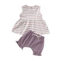 gevşek keten toptan satış-Yaz Bebek Kız Takım Elbise Ince Pamuk Keten Çizgili Kolsuz Yuvarlak Boyun Gevşek Hem Etek Elastik Bandaj Şort 2-Piece Set