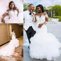 Wholesale feather ruffles resale online - Plus size African Mermaid Wedding Dresses Sheer O neck Illusion Lace Applique Long Sleeve Ruffles Cathedral Train Wedding Gown
