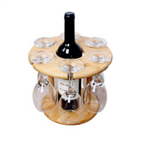 Preference HOT-Wine Glass Holder Bamboo Tabletop Wine Glass Drying Racks Camping for 6 Glass and 1 Wine Bottle
