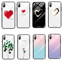 Wholesale paint phone case online – custom Painted Tempered Glass Phone Case For iPhone X XS max XR Nice Phone Back Cover Cases For iPhone