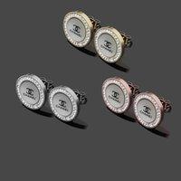 nachahmung ohrring ohrstecker großhandel-Top Qualität Berühmte Marke Schmuck Edelstahl silber Gold rose klassische shell diamant brief ohrstecker Design Für mädchen Frauen