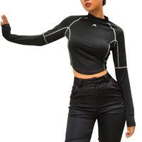 siyahlar dış giyim toptan satış-Zarif Uzun Kollu Bluz Mahsul En İnce spor mahsul tops Spor Yoga Koşu Egzersiz spor Açık üstleri kırpılmış üst giyim Siyah 30 adet